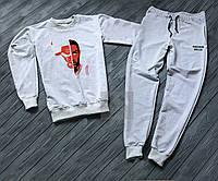 Спортивный костюм мужской Chicago Bulls белый с серым (РЕПЛИКА)