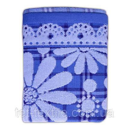"Полотенце лен/махра для лица и рук ""Ромашка"" голубое 34х72см., фото 2"