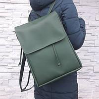 Женский рюкзак Loft зеленый из эко-кожи украинского производства