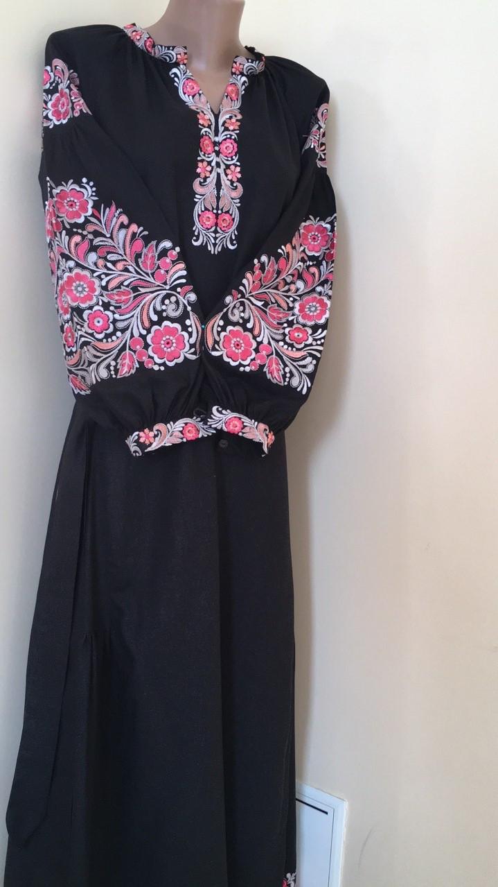 Вишита сукня на чорному льоні машинна вишивка - Скарбниця Карпат- інтернет  магазин виробів ручної роботи 61a9cef9608f9