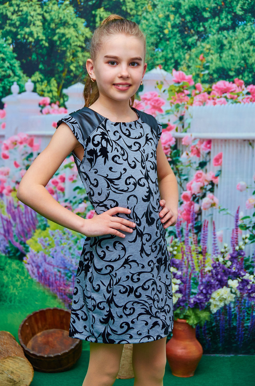 Платье-футляр для девочки подростка серое р 134-152 -