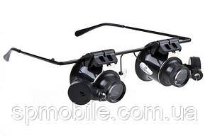Окуляри лупи з лінзою 20x з LED підсвічуванням NO.9892 A-II