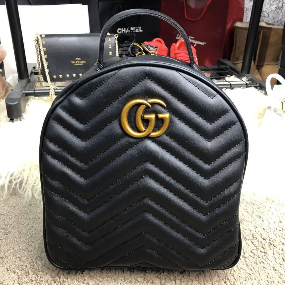 Рюкзак Gucci GG Marmont Quilted Backpack Black Реплика
