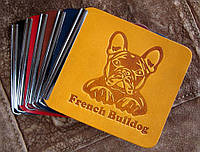 Затиск для грошей з кишенею Французький Бульдог. Шкіра, фото 1