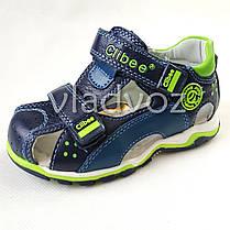 Детские босоножки сандалии для мальчика тёмно синие салат кожа Clibee 28р 17см, фото 2