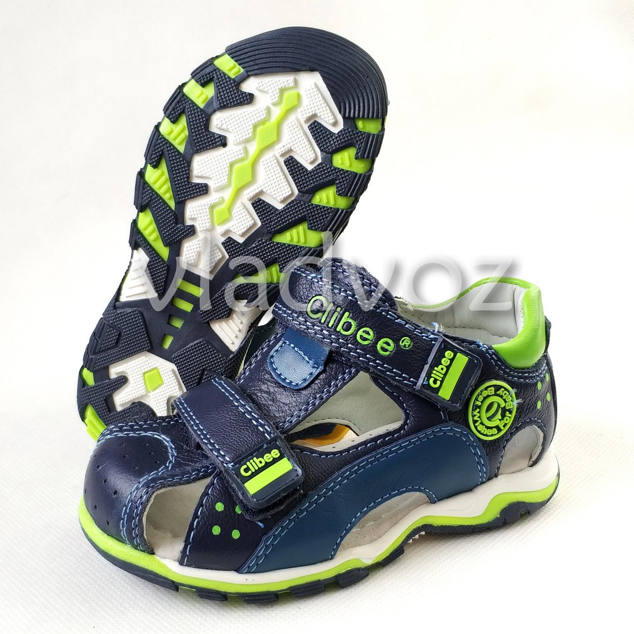 Детские босоножки сандалии для мальчика тёмно синие салат кожа Clibee 28р 17см