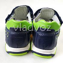 Детские босоножки сандалии для мальчика тёмно синие салат кожа Clibee 28р 17см, фото 3