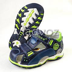 Детские босоножки сандалии для мальчика тёмно синие салат кожа Clibee 29р 17,8см