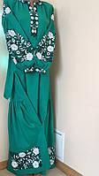 Вишита сукня на зеленому льоні машинна вишивка