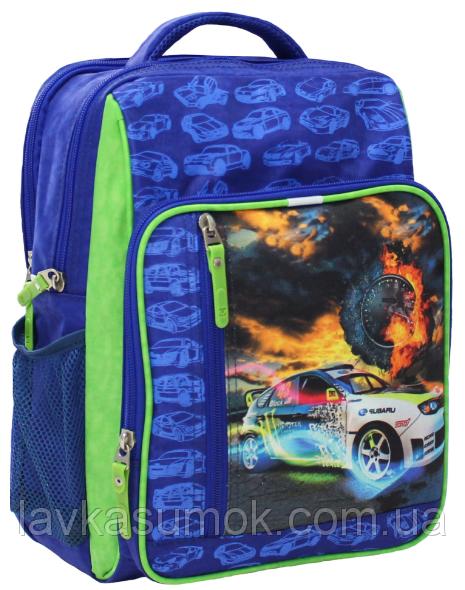 Рюкзак школьный синий Гоночная машина