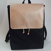 Женский рюкзак Loft черный с золотом из эко-кожи украинского производства, фото 1