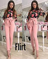 Женский стильные брюки с высокой посадкой и поясом (6 цветов), фото 1
