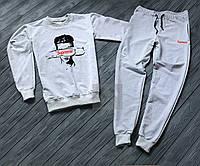 Спортивный костюм мужской Supreme Суприм серый (РЕПЛИКА)