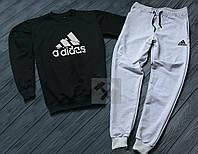 Спортивный костюм Адидас Adidas черный с серым (РЕПЛИКА)