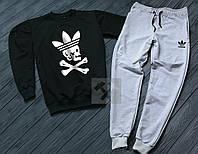 Спортивный костюм мужской Adidas Адидас черный с серым (РЕПЛИКА)