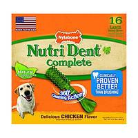 Nylabone Nutri Dent Chicken Large НИЛАБОН НУТРИ ДЕНТ ЧИКЕН жевательное лакомство для чистки зубов для собак до 23 кг, вкус курицы (цена за 1шт, 16