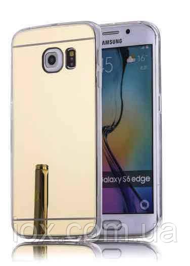 Золотистый зеркальный чехол для Samsung Galaxy S6 Edge