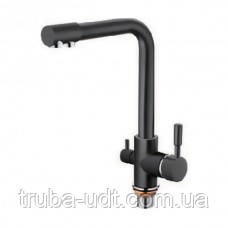 Трехпозиционный смеситель вода + осмос на кухонную мойку черный матовый