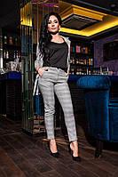 Женский костюм пиджак с брюками в клетку 16012