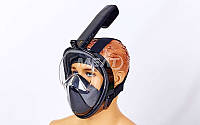 Маска для снорклинга с дыханием через нос Swim One F-118-BK.р-р: S-M