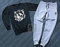 Спортивный костюм мужской Волк антрацит с серым (РЕПЛИКА)
