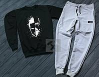 Спортивный костюм мужской Bad Boy черный с серым (РЕПЛИКА)
