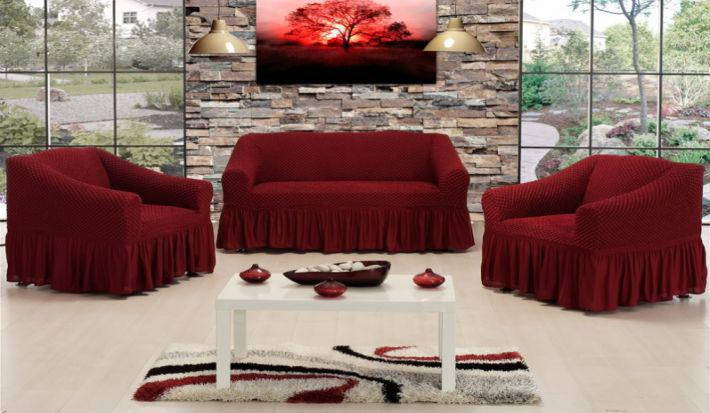 Чохол на диван і два крісла Altin Koza бордовий, фото 2