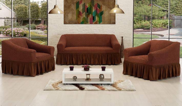 Чехол на диван и два кресла Altin Koza коричневый, фото 2