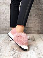 Слипоны с натуральным мехом натуральный замш. нежно-розовый