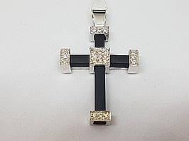 "Золотой крестик ""Спаси и сохрани"" с бриллиантом. Артикул 3041757"