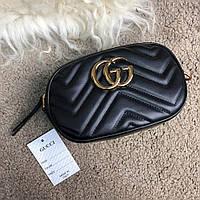 Женская сумка Gucci GG Marmont Matelassé Belt Bag Black Реплика