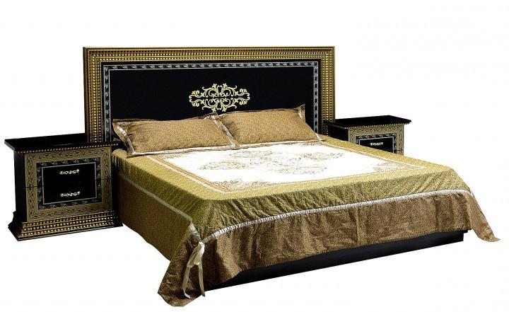 Ліжко з ДСП/МДФ в спальню 2-сп (б/матрасу та каркаса) з м`яким бильцем Софія Люкс чорне Світ Меблів