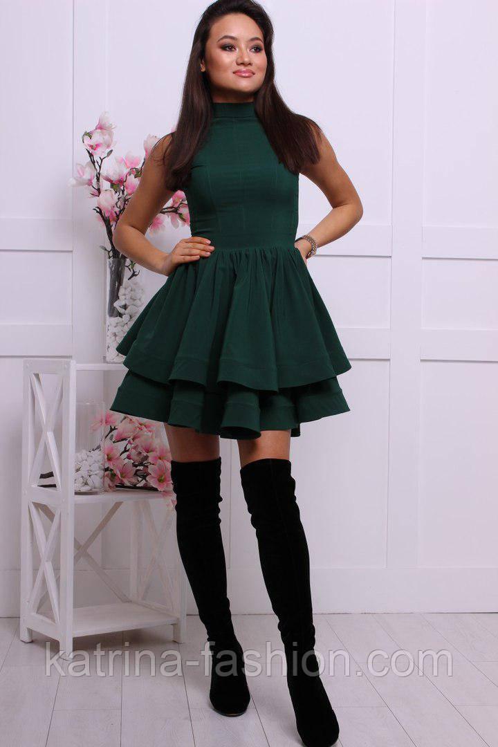 Женское стильное платье с двойной юбкой (3 цвета)