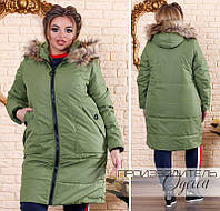 Длинная женская куртка-пальто на синтепоне недорого интернет-магазин  доставка Украина Россия СНГ р 689006042062f