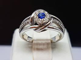Золоте кільце з діамантами і сапфіром. Артикул 35275 17