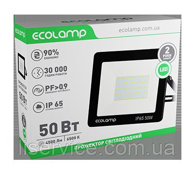 LED прожектор ECOLAMP 50W-4500lm-6500K-IP65, фото 2