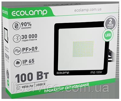 LED прожектор ECOLAMP 100W-9000lm-6500K-IP65, фото 2