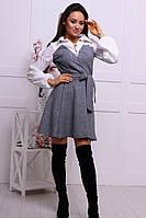 Женское стильное комбинировнное платье-рубашка хлопок и костюмка с поясом (4 цвета), фото 1