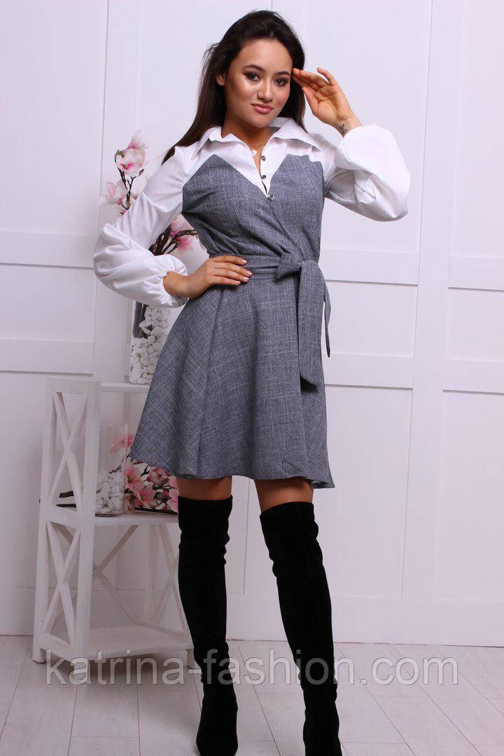 Женское стильное комбинировнное платье-рубашка хлопок и костюмка с поясом (4 цвета)