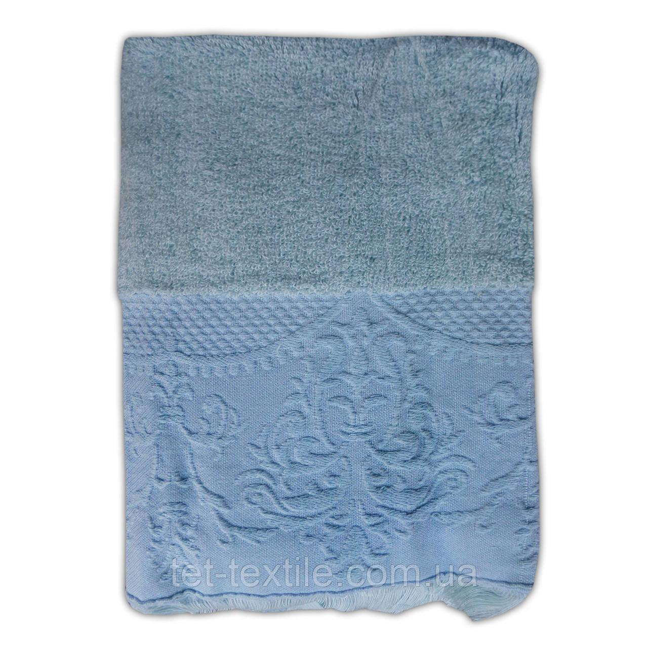 """Полотенце махровое для лица и рук """"Винтаж"""" голубое 50х100см."""