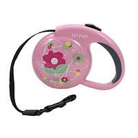 "Coastal Lit""l Pals Fashionable рулетка-поводок для собак, 3,6 м, до 7 кг (розовый цветок)"