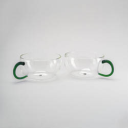 Стеклянные чашки для чая и кофе набор 2 ед на 200 мл.