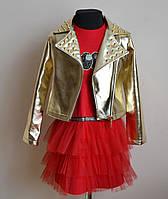 Детское платье и куртка косуха для девочек 8-10лет, фото 1