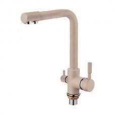 Трипозиційний змішувач вода + осмос на кухонну мийку світло-бежевий матовий