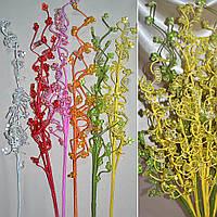 Цветы искусственный веточка с мелк. цветами и накруч. спиралью 80см