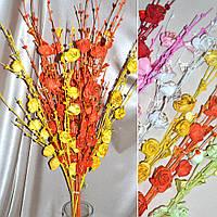 Цветы искусственный веточка роз с блестками и стекл.лист 80см