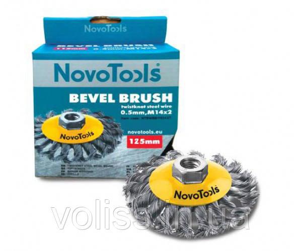 Щётка по металлу конусная, плетёная проволока, сталь NovoTools, 125 мм