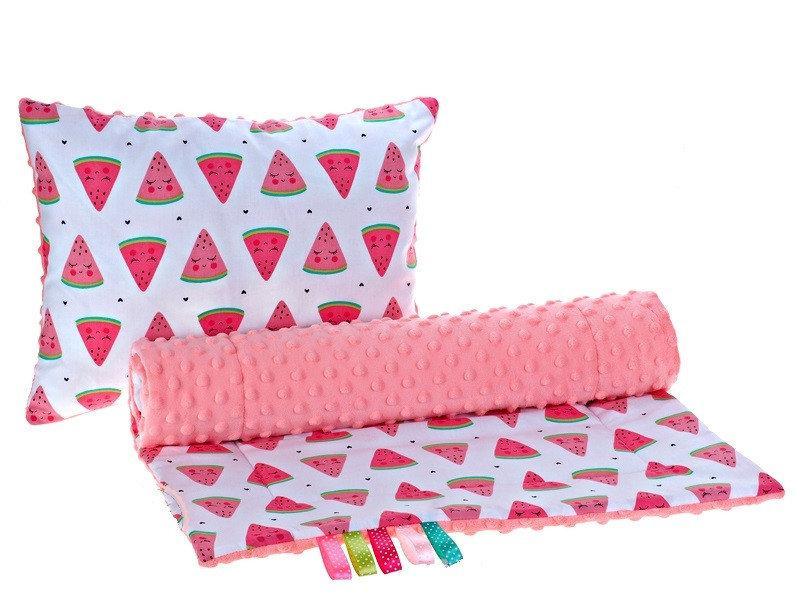 Комплект в детскую коляску BabySoon Арбузики одеяло 75 х 78 см подушка 30 х 40 см корал