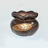 Вазон для цветов кругл. коричневый с бронз.лист. арт.0306