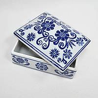Шкатулка керамическая белая с синим рисунком 11х14